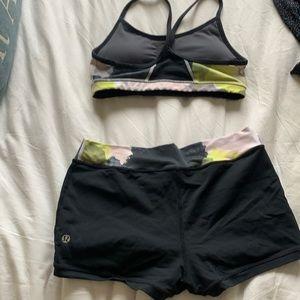 Lululemon spandex shorts and flow Y bra set